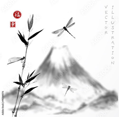 Fuji mountain, bamboo branch and dragonflies.