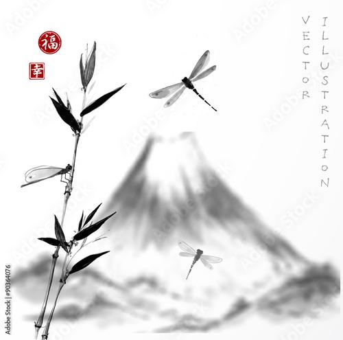 Naklejka Fuji mountain, bamboo branch and dragonflies.
