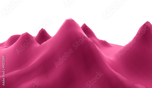 Foto op Aluminium Crimson Mountain abstract rendered on white background