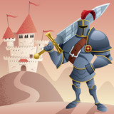 Knight 2 / Cartoon knight in front of castle. No transparency used. Basic (linear) gradients.