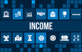 Income concept image with business icons and copyspace.
