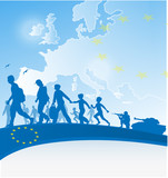 immigration people on europe  background
