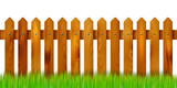 Wooden fence and grass - isolated on white background - 90390284