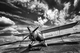 Fototapety Old airplane on field in black and white