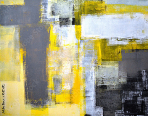 Grey and Yellow Abstract Art Painting - 90401472