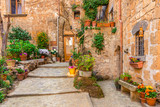 Fototapety Alley in old town Tuscany Italy