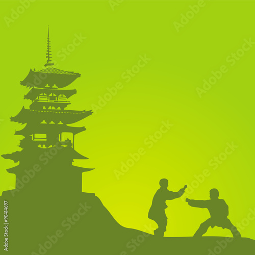 Fototapeta Two men are engaged in a kung fu against the monastery.