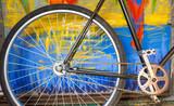 Old retro bicycle refurbished detail view poster