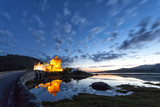 Fototapety Panoramic at dusk of Eilean Donan Castle, Highlands, Scotland