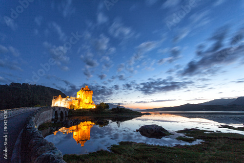 Panoramic at dusk of Eilean Donan Castle, Highlands, Scotland