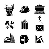 Heavy industry or metallurgy icons set poster