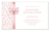 Fototapety Romantic wedding announcement with pink floral ornament