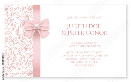 Zdjęcia na płótnie, fototapety, obrazy : Romantic wedding announcement with pink floral ornament