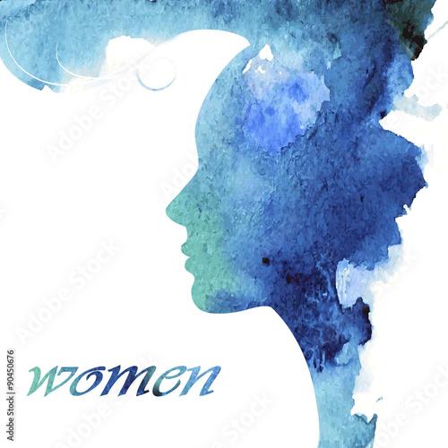 Female profile with a stylish haircut - 90450676