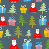 Santa Claus, gift and Christmas tree. Christmas seamless pattern