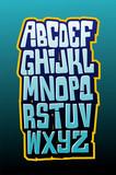 Fototapety Graffiti comics style letttering font. Vector alphabet