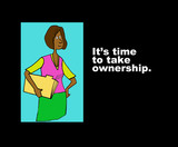 Business cartoon showing black millennial woman and the words,