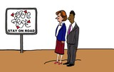 Business cartoon showing two businesspeople on dirt path.  Sign reads,