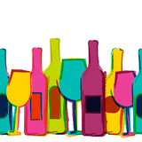 Vector watercolor seamless background, colorful wine bottles and