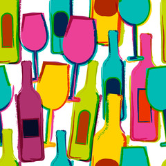 Abstract watercolor seamless pattern, multicolor wine glasses an