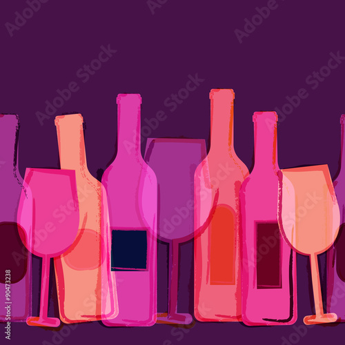 Abstract watercolor seamless background, red, pink, purple wine