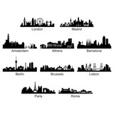 City Skyline of European Country - Vector Silhouette