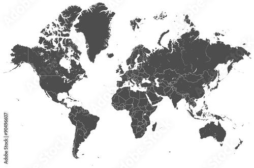 Welt Karte grau mit Länder Grenzen Vektor Grafik