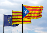 Flags of European Union and Catalonia with the Catalan secession poster