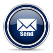 Постер, плакат: send blue glossy web icon