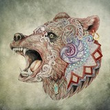 Dotwork, tattoo, head enraged bear poster