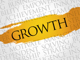 Growth word cloud, business concept