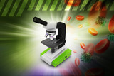Microscope with platelets and virus in color background poster
