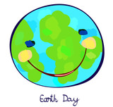 earth planet celebration day, childlike painting poster