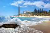 Fototapety Beach and lighthouse of Maspalomas. Gran Canaria, Canary Islands