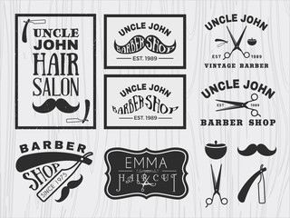 Vintage monochrome barber shop logo, labels, badges, banner, emblem, insignia, poster and design element