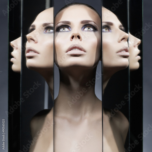 Woman and mirrors Poster