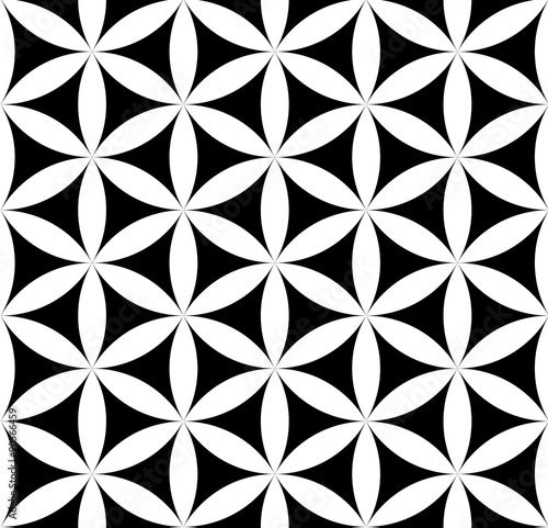 Vector modern seamless pattern flower of life ,black and white textile print,stylish background sacred geometry, abstract texture, monochrome fashion design, bed sheets or pillow pattern