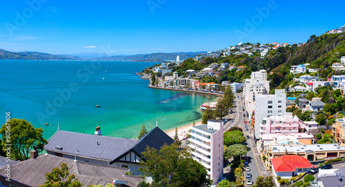 Aluminium Poort Panoramic view of the Oriental Bay. Wellington city