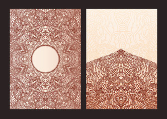 Set of ethnic template for design wedding invitations and greeting cards. Traditional henna flowers mehndi elements of vintage patterns. Indian or Asian motif painting.