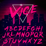 80s Retro Futurism style Font. Vector Brush Stroke Alphabet - 90618203