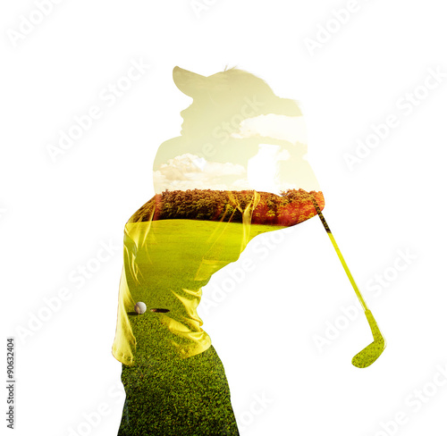 Fototapeta Double exposure of young female golf player holding club combined with green field and sky. Golfing concept.