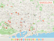 Barcelona Map and Navigation Icons. Highly detailed vector map of Barcelona. Map includes streets, parks, names of subdistricts, points of interests.
