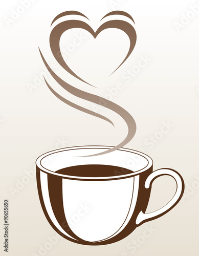 Fototapeta Coffee or Tea Cup With Steaming Heart Shape is an illustration with a cup of coffee or tea with steam coming off of it making the shape of a heart.