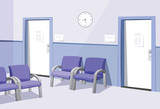 Modern Interior at the doctor. Waiting room in the office. Private medical practice. Vector simple illustration.