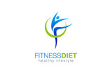 Fototapety Fitness Diet Healthy Lifestyle Logo design vector. Gymnastics icon