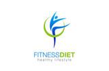 Fitness Diet Healthy Lifestyle Logo design vector. Gymnastics icon - 90673026