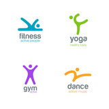 Fitness Dance Yoga Gym Logos sport design vector icons - 90674202