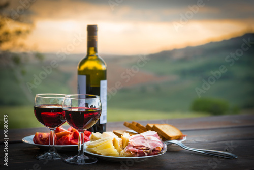 still life Red wine  ,cheese and prosciutto Poster