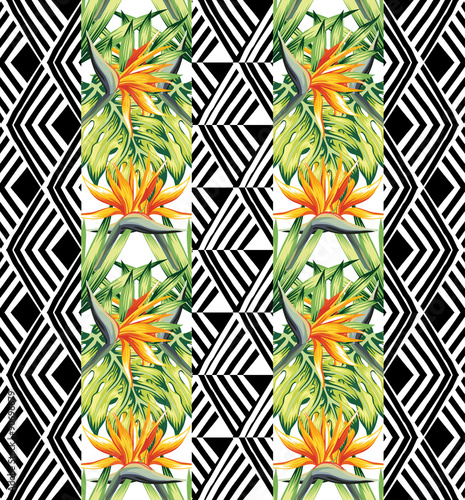 tropical floral and geometric seamless background