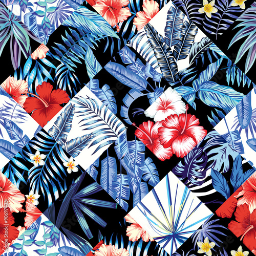 tropical floral patchwork trendy pattern - 90697433
